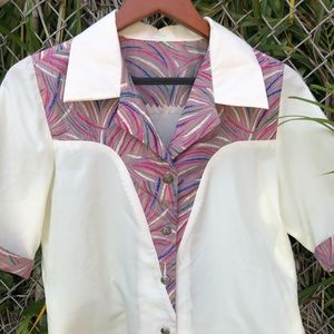 Vintage Polyester Blouse -pretty colorful details